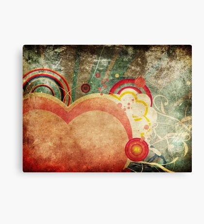 Grunge Valentines day card with hearts 4 Canvas Print