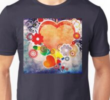 Grunge Valentines day card with hearts 6 Unisex T-Shirt