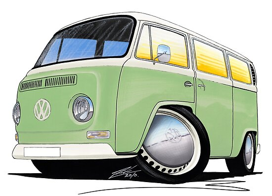 VW Bay Window Camper Van Light Green by Richard Yeomans