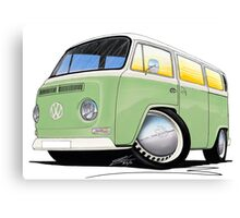 VW Bay Window Camper Van Light Green Canvas Print