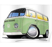 VW Bay Window Camper Van Light Green Poster