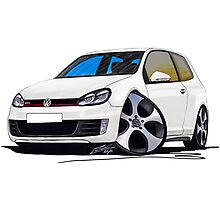 VW Golf GTi (Mk6) White Photographic Print