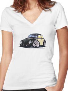VW Beetle (Custom C) Women's Fitted V-Neck T-Shirt