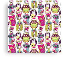 Neon Owls Canvas Print