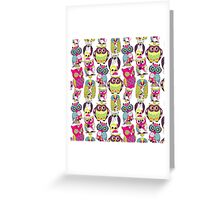 Neon Owls Greeting Card