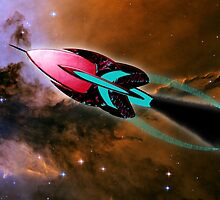A Cruiser Interceptor on Patrol at the Fairy of Eagle Nebula by Dennis Melling