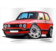 VW Golf GTi (Mk1) Red Poster