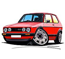 VW Golf GTi (Mk1) Red Photographic Print