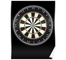 Dart Board, Darts, Arrows, Target, Bulls eye, Pub game, on Black Poster