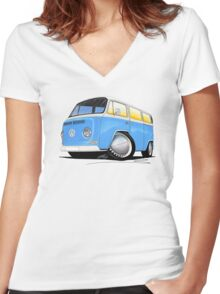 VW Bay (Early) Light Blue Women's Fitted V-Neck T-Shirt