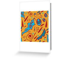 funny seamless pattern with floral ornaments on an orange background Greeting Card