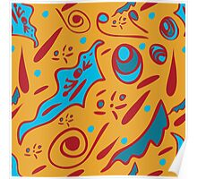 funny seamless pattern with floral ornaments on an orange background Poster
