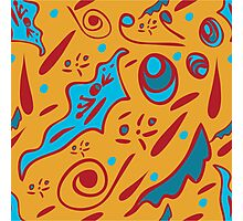 funny seamless pattern with floral ornaments on an orange background Photographic Print