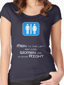 Men to the Left Because Women Are Always Right Women's Fitted Scoop T-Shirt