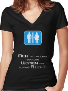 Men to the Left Because Women Are Always Right Women's Fitted V-Neck T-Shirt