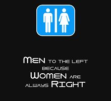 Men to the Left Because Women Are Always Right Womens Fitted T-Shirt