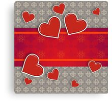 Hearts on vintage background 3 Canvas Print