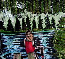 """Mirror Lake  (She sits and waits.) by Belinda """"BillyLee"""" NYE (Printmaker)"""