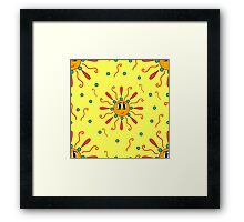 seamless pattern with the image of a smiling sun Framed Print