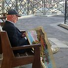 Old man working on tapestry (sold) by Christian  Zammit