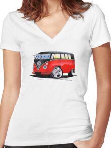 VW Splitty (11 Window) Camper (E) Women's Fitted V-Neck T-Shirt