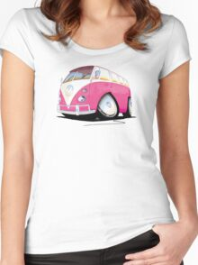 VW Splitty Camper Van Pink Women's Fitted Scoop T-Shirt