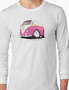 VW Splitty Camper Van Pink Long Sleeve T-Shirt