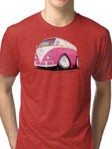 VW Splitty Camper Van Pink Tri-blend T-Shirt