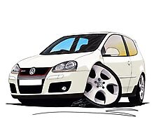 VW Golf GTi (Mk5) White Photographic Print