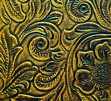 Mustard Gold Embossed Tooled Leather Floral Scrollwork Design by rpwalriven