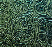 Rustic Green Embossed Tooled Leather Floral Scrollwork Design by rpwalriven