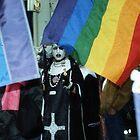 Transvestite nuns against neo nazis, Paris. by Mitchell  McLean