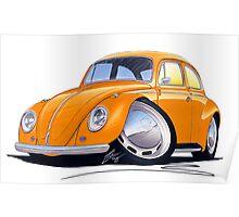 VW Beetle Orange Poster