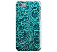 Turquoise Embossed Tooled Leather Floral Scrollwork Design iPhone Case/Skin