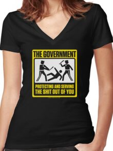 Protecting And Serving The Shit Out Of You Women's Fitted V-Neck T-Shirt