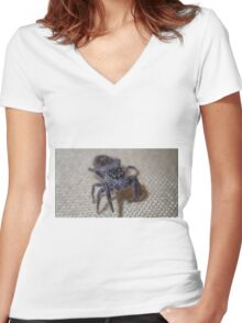 Macro Jumping Spider Women's Fitted V-Neck T-Shirt