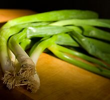 Green Onions on Wood by JKunnen