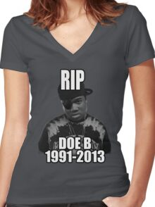 RIP Doe B Women's Fitted V-Neck T-Shirt