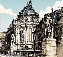 Vintage Hand Drawn View of Versailles Chapel by aurielaki
