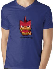 Hello (Angry) Unikitty Mens V-Neck T-Shirt