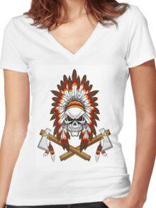 indian (skull) Women's Fitted V-Neck T-Shirt