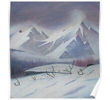 snowy mountain scene Poster