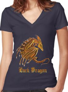 Luck Dragon with letters Women's Fitted V-Neck T-Shirt