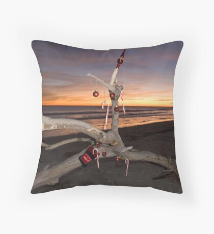 A Beach Bum's Christmas Tree Throw Pillow
