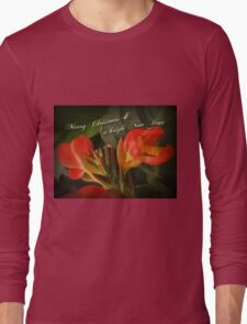 Merry Christmas Happy New Year Card - Red Canna Lily Long Sleeve T-Shirt
