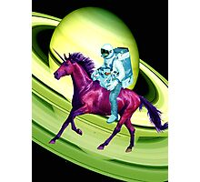 Astronaut Rides a Space Horse on the Rings of Saturn Photographic Print