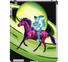Astronaut Rides a Space Horse on the Rings of Saturn iPad Case/Skin