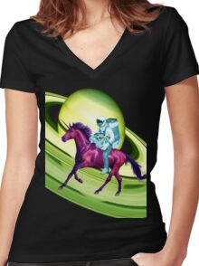 Astronaut Rides a Space Horse on the Rings of Saturn Women's Fitted V-Neck T-Shirt