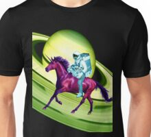 Astronaut Rides a Space Horse on the Rings of Saturn Unisex T-Shirt