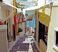 Stairs to the Old Port, Santorini by Leigh Penfold